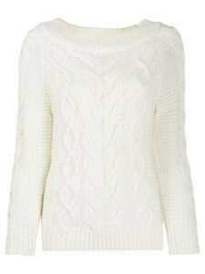 Semicouture wide neck jumper - White
