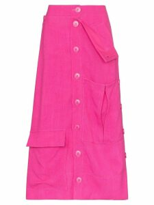 Jacquemus Monceau fold-over waist midi skirt - PINK
