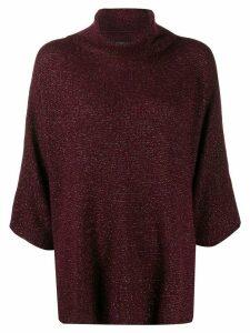 Etro metallic knit roll-neck jumper - Red