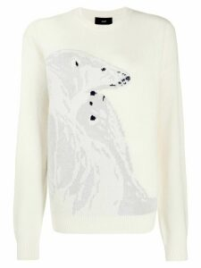 Alanui polar bear intarsia jumper - White