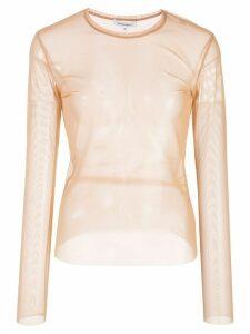 Priscavera sheer long sleeved top - NEUTRALS