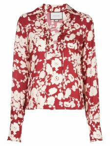 Alexis poppy print blouse - Red