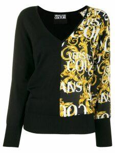 Versace Jeans Couture Baroque print V-neck jumper - Black