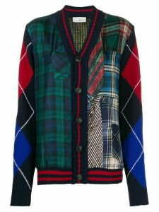 Pierre-Louis Mascia patchwork check cardigan - Blue