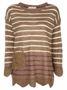 Tsumori Chisato striped long-sleeve top - Brown