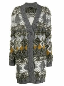 Fabiana Filippi tinsel-effect patterned cardigan - Grey