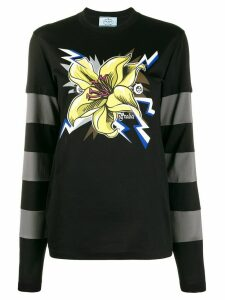 Prada rose print layered jumper - Black