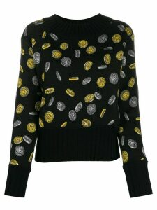 Moschino coin print cropped jumper - Black