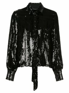 Sally Lapointe sequined tied-neck blouse - Black