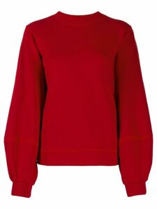 GANNI cuff sleeve jumper - Red