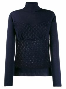 Sueundercover patterned knit jumper - Blue