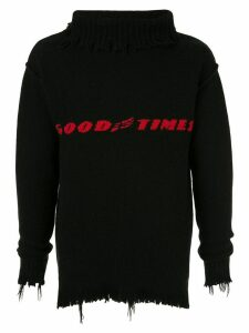 Ground Zero distressed intarsia knit jumper - Black