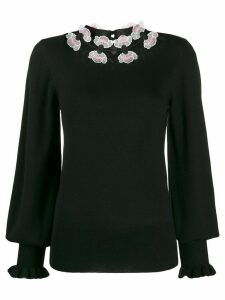 Temperley London floral embroidered fine knit sweater - Black