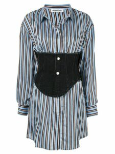 Ground Zero corset detail striped shirt - Blue