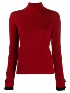 Temperley London pleated cuff turtleneck sweater - Red
