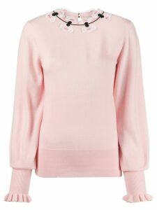 Temperley London floral embroidered fine knit sweater - PINK