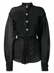 Balmain sheer tie-waist blouse - Black