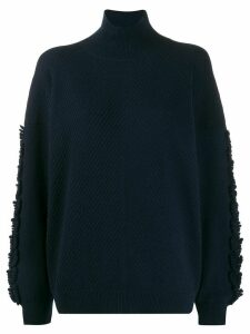 Barrie textured sleeves detail jumper - Blue