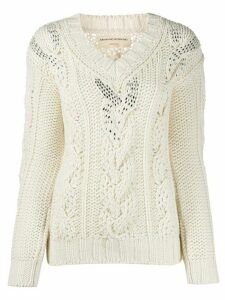 Ermanno Scervino cable-knit slim-fit jumper - White