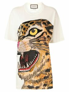 Gucci feline print oversized T-shirt - NEUTRALS