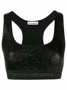 Paco Rabanne metallic-effect logo tape crop top - Black