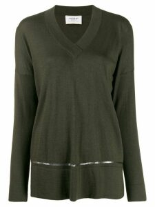 Snobby Sheep sequinned stripe loose-fit jumper - Green