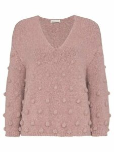 Vika Gazinskaya bobble detail V-neck sweater - PURPLE