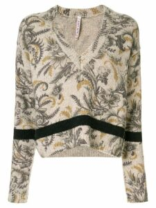 Antonio Marras floral V-neck jumper - Brown