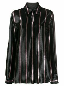 Alberta Ferretti long sleeved striped shirt - Black