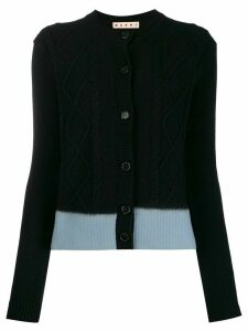 Marni colour block cable knit cardigan - Black