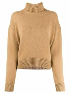 Laneus ribbed roll neck jumper - NEUTRALS