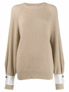 Brunello Cucinelli ribbed cuff-detail cashmere jumper - Brown