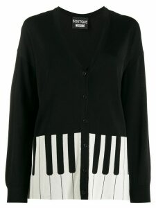 Boutique Moschino piano pattern cardigan - Black
