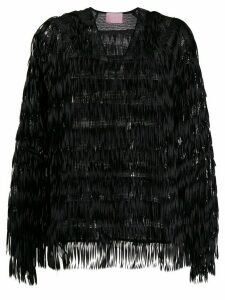 Giamba fringed sequin-embellished blouse - Black