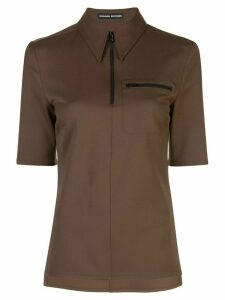 Kwaidan Editions zipped polo shirt - Brown