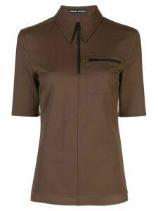 Kwaidan Editions zipped polo shirt - Brown