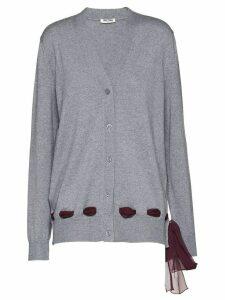 Miu Miu bow detail cardigan - F0193 Stone