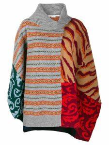Stella McCartney multi-pattern knitted poncho - Grey