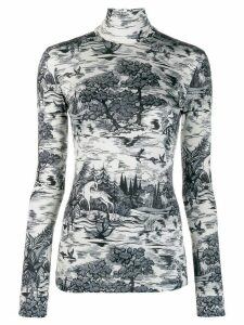 Victoria Victoria Beckham forest print turtleneck top - White