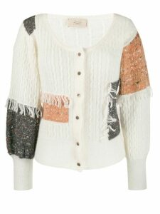 Maison Flaneur patchwork fringed cardigan - NEUTRALS