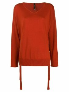 Pierantoniogaspari side lace detail fine knit sweater - ORANGE