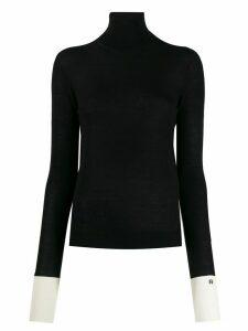 Rochas contrast cuff jumper - Black