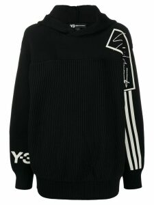 Y-3 stripe detail knitted hoodie - Black