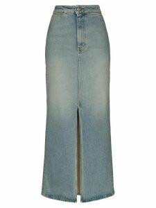Sunflower front slit denim maxi skirt - Blue