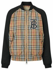 Burberry monogram motif vintage check bomber jacket - Black