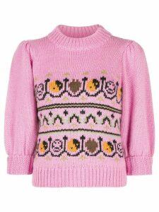 GANNI intarsia knit jumper - PINK