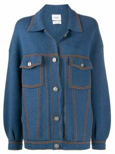 Barrie knitted buttoned jacket - Blue