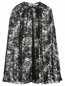 Prada peony motif lace cape - Black