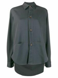 Société Anonyme long-sleeved elongated-back shirt - Grey