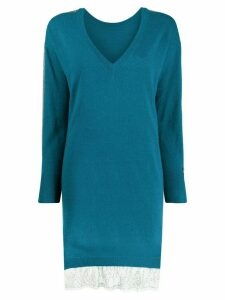 Twin-Set long V-neck jumper - Blue